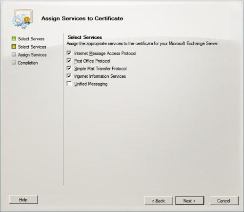 Assign Services to certificate