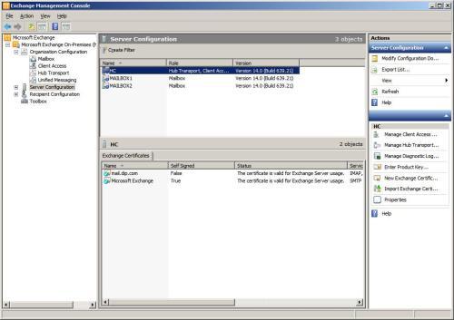Exchange 2010 EMC server configuration page