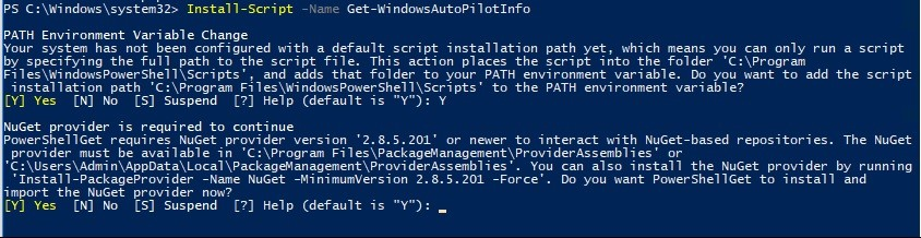 Autopilot Powershell script for getting Hardware ID | Repository of